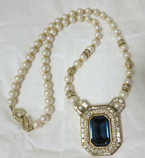 Beautiful Vintage Christian Dior Blue Glass Pendant Pearl Necklace