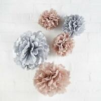 5 Rose Gold & Grey Pom Poms -Birthday Party,Venue Decoration,Wedding,Baby Shower