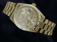 Mens Rolex Day-Date President 18K 18KT Yellow Gold Watch Champagne Diamond 1803