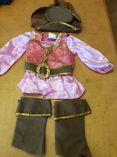 Disney Girl's Pink Pirate Dress Up Costume W/Accessories Size 3-4