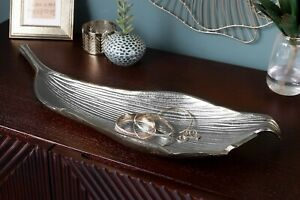 Schale Obstschale Blatt Silber Handgefertigt Aluminium Tischdeko Deko Geschenk
