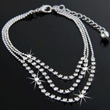 Silver Shiny Crystal Ankle Bracelet Layer Women Anklet Chain Foot Beach
