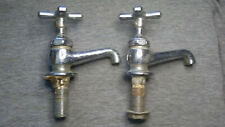 pair vintage antique faucet bathroom kitchen sink hot cold solid brass
