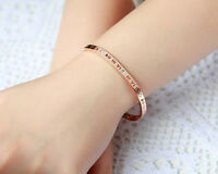 Bangle Bracelet for her Silver 14k Rose Gold Plated Woman Tween Girl Fashion set