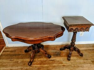 """Antique Oval Table with End Table """"LE RUISSANT COULANT"""" 1930's."""