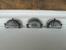 Small Mini Pewter Gray Cup Handle Half Moon Drawer Pull - Cabinet Knob - Dresser