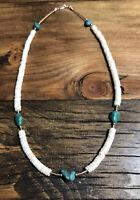 "#872 Vintage 1970s White Heishi 19"" Necklace, Royston Turquoise, 925 Silver"