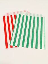 X100 Green & Red Paper Bags Kids Party Loot Cake Gift Candy Buffet Christmas