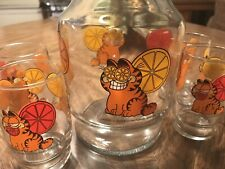 Garfield Pitcher Juice Carafe Decanter With 4 Glasses