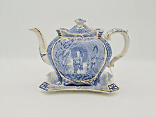 More details for burleigh ware chinoiserie teapot on a stand, c.1894, rd shape 223699 no. 225655