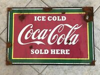 Old style-porcelain look Coca Cola soda fountain drug store sign. Very nice