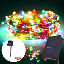 Outdoor Solar Powered Copper Wire 100 LED String Fairy Lights 33ft Colorful Xmas