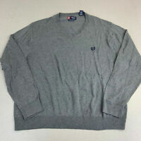 Chaps V Neck Sweater Mens 2XL Gray Long Sleeve Pima Cotton Tight Knit Pullover