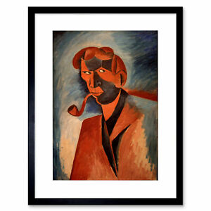 Painting Kubitsa Self Portrait Smoking Framed Art Print 12x16 Inch