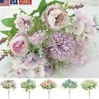 Hot Silk Peony Artificial Fake Flowers Bunch Bouquet Home Wedding Party Decor US