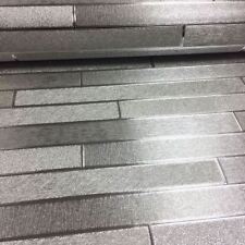 Arthouse Metallic Foil Slate Brick Silver Luxury Vinyl Feature Wallpaper 294600