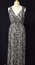 Ladies Atmosphere Size 12 Black and White V Neck Animal Print Cotton Maxi Dress