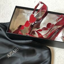 Azzaro High Heels Red Love Heart Patent Wedge Sandals Heureuse Ruby Size 37 UK 4
