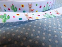 15mm Llama and Cactus Grosgrain Ribbon Available in 1m, 5m, 10m and 25m Lengths
