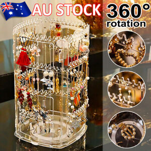 Earring Necklace Display Stand Organizer Acrylic Holder Storage Rack 360Rotating