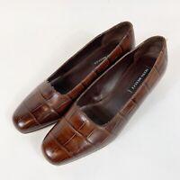 SESTO MEUCCI Womens Brown Italian Leather Croc Print Stack Heel Sz 9.5M