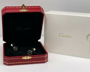 RARE NEW OLD STOCK Cartier Sterling Silver DOUBLE C CUFFLINKS & BOX