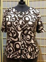 Women's size 28 Lane Bryant White and Brown Print Swing Jacket