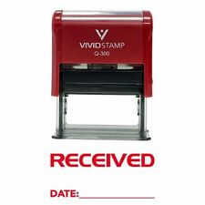 """RECEIVED BY: DATE: Self Inking Rubber Stamp Red Ink Business Large 3/4""""x1-7/8"""""""
