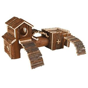 Frida Natural Wood Hamster Gerbil Pet Playground Home / House Climbing Toy