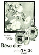 Publicité ancienne lotion rêve d'or L T Piver flacons 1929 issue de magazine