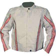 NexGen Womens Lite Textile Motorcycle Jacket White/Pink Womens Large