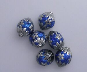 6 HANDMADE INDONESIA SPARKLE DODGER  BLUE  & SILVER  BEADS 22X18MM * LOT X 18