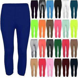 Ladies Womens Pants Plain Three Quarter Jersey Gym Workout Fitness Leggings