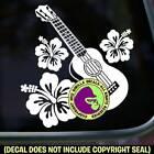 Ukulele Hibiscus Vinyl Decal Sticker Hawaiian Uke Player Bumper Car Window Sign for sale
