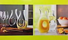 Handblown Glass Carafes / Pitchers / Jugs - Set of 2x1L With Handle 4 Juice/Wine