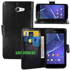 BLACK WALLET Leather gel Case with Card Slots For Sony Xperia M2 UK FREE POST