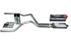 "Chevy GMC 1500 Truck 88-95 2.5"" Dual Exhaust Flow II Stainless Muffler Slash Tip"