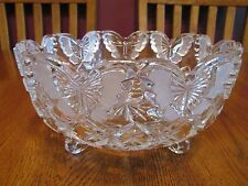 Gorgeous Hofbauer Crystal Papillon Footed Bowl With Frosted Butterflies