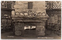 Real Photo Postcard Fireplace at Echo Lake Lodge in Mt. Evans, Colorado~106926