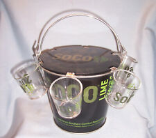 NEW SOUTHERN COMFORT SOCO Lime Bar Tavern Advertising Ice Bucket 6 Shot Glasses