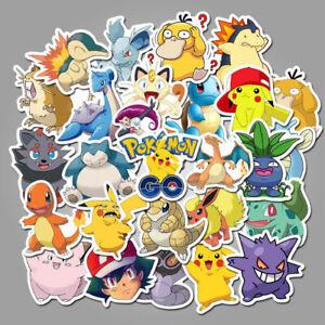 50x Pokemon Laptop Home Wall Window Kids Bedroom Fridge Stickers Pikachu