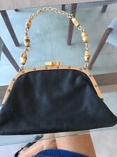 GUCCI by Tom Ford Black Evening Bag Purse Thick Silk Bamboo