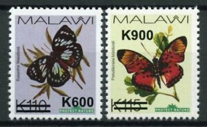 Malawi Butterflies Stamps 2020 MNH Butterfly OVPT Small Font Insects 2v Set