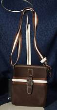 New Small Brown Nylon Fabric LANCETTI Crossbody Messenger or Pouch
