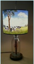 Hand Painted Cows In The Meadow Lamp On Old Time Milk Bottle Down On The Farm