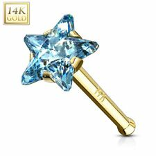 gold 14K Star turquoise Piercing nose rod/stem right Yellow