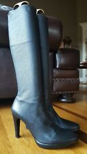 Lorenzo Masiero Black Leather Round Toe Knee High Pull On Boots 38.5/8.5 Italy