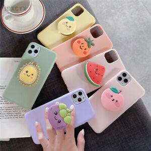 Fruit Ring Holder Cute Japanese Phone Case Kawaii Apple iPhone Samsung 3D Lemon