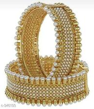Indian Style Rajwadi Wedding Dulhan Pearl Chura Bangle Bridal Set Gold Plated