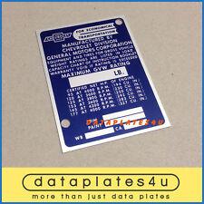 CHEVROLET TRUCK INFO DATA PLATE ID TAG VIN REGISTRATION DOOR POST 95 HP - 177 HP